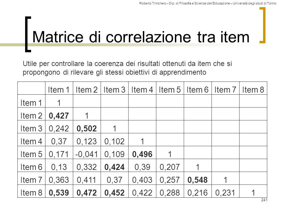 Roberto Trinchero – Dip. di Filosofia e Scienze dell'Educazione – Università degli studi di Torino Matrice di correlazione tra item 241 Item 1Item 2It
