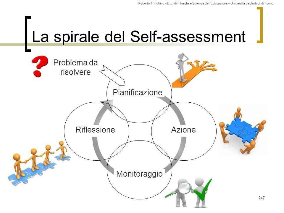 Roberto Trinchero – Dip. di Filosofia e Scienze dell'Educazione – Università degli studi di Torino Problema da risolvere La spirale del Self-assessmen