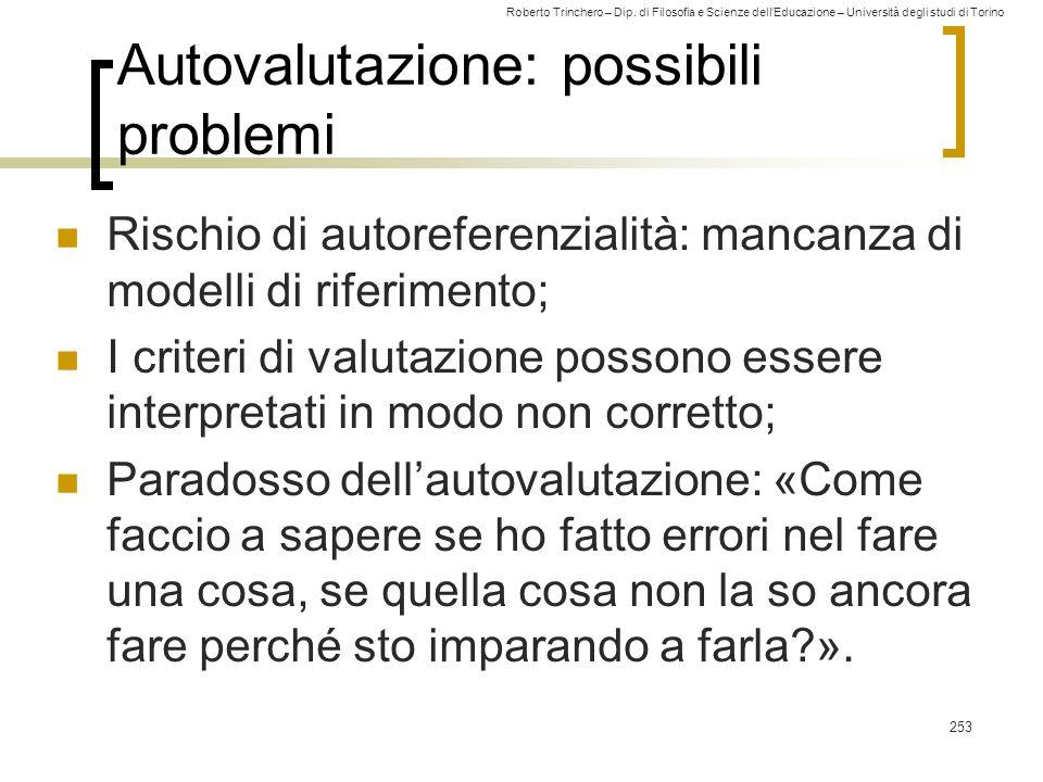 Roberto Trinchero – Dip. di Filosofia e Scienze dell'Educazione – Università degli studi di Torino 253 Autovalutazione: possibili problemi Rischio di
