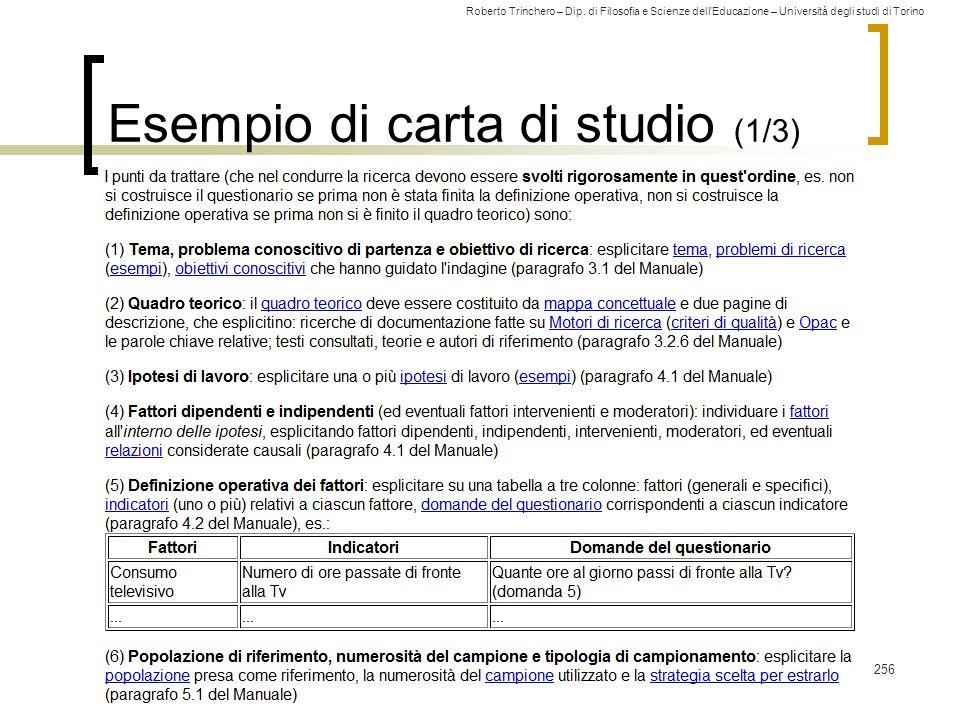Roberto Trinchero – Dip. di Filosofia e Scienze dell'Educazione – Università degli studi di Torino Esempio di carta di studio (1/3) 256