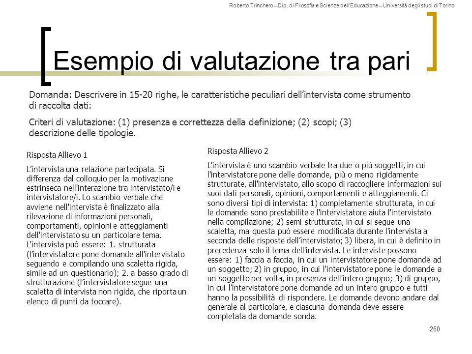 Roberto Trinchero – Dip. di Filosofia e Scienze dell'Educazione – Università degli studi di Torino 260 Esempio di valutazione tra pari Risposta Alliev