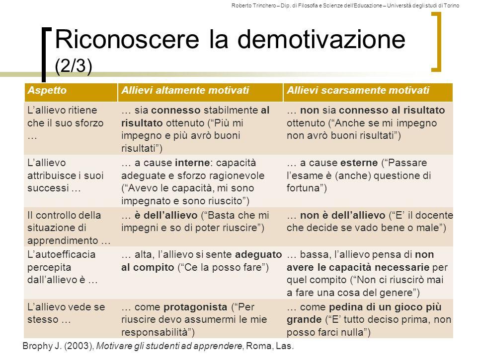 Roberto Trinchero – Dip. di Filosofia e Scienze dell'Educazione – Università degli studi di Torino Riconoscere la demotivazione (2/3) 266 AspettoAllie