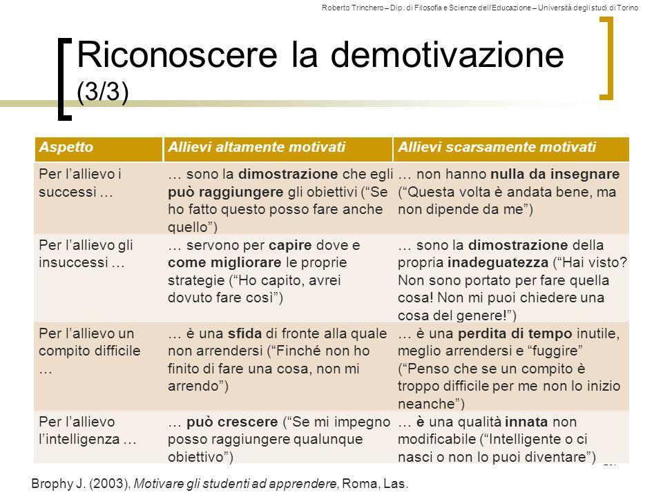 Roberto Trinchero – Dip. di Filosofia e Scienze dell'Educazione – Università degli studi di Torino Riconoscere la demotivazione (3/3) 267 Brophy J. (2