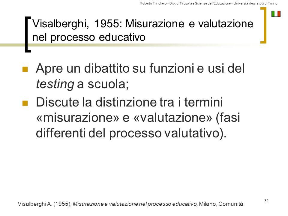 Roberto Trinchero – Dip. di Filosofia e Scienze dell'Educazione – Università degli studi di Torino Visalberghi, 1955: Misurazione e valutazione nel pr