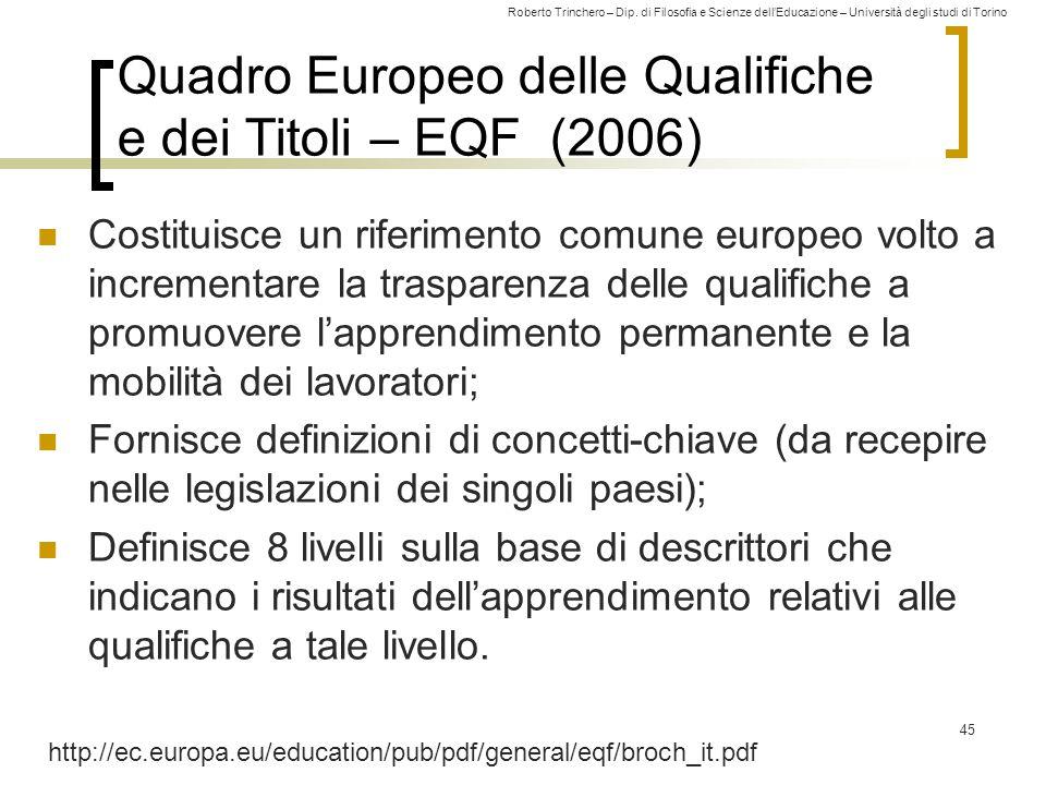 Roberto Trinchero – Dip. di Filosofia e Scienze dell'Educazione – Università degli studi di Torino Quadro Europeo delle Qualifiche e dei Titoli – EQF