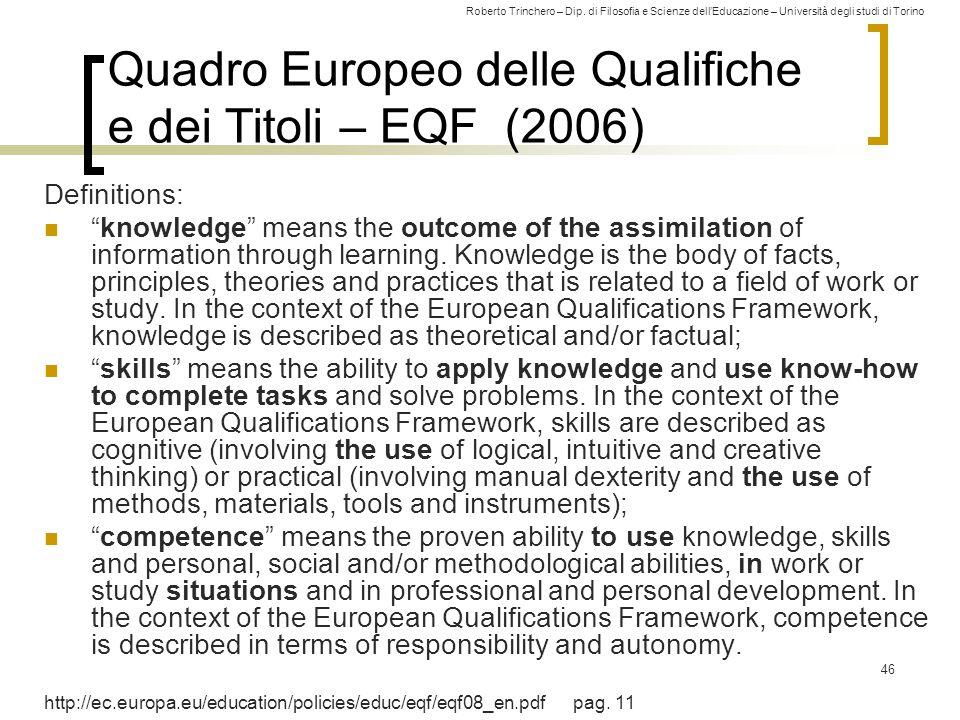 Roberto Trinchero – Dip. di Filosofia e Scienze dell'Educazione – Università degli studi di Torino 46 Quadro Europeo delle Qualifiche e dei Titoli – E