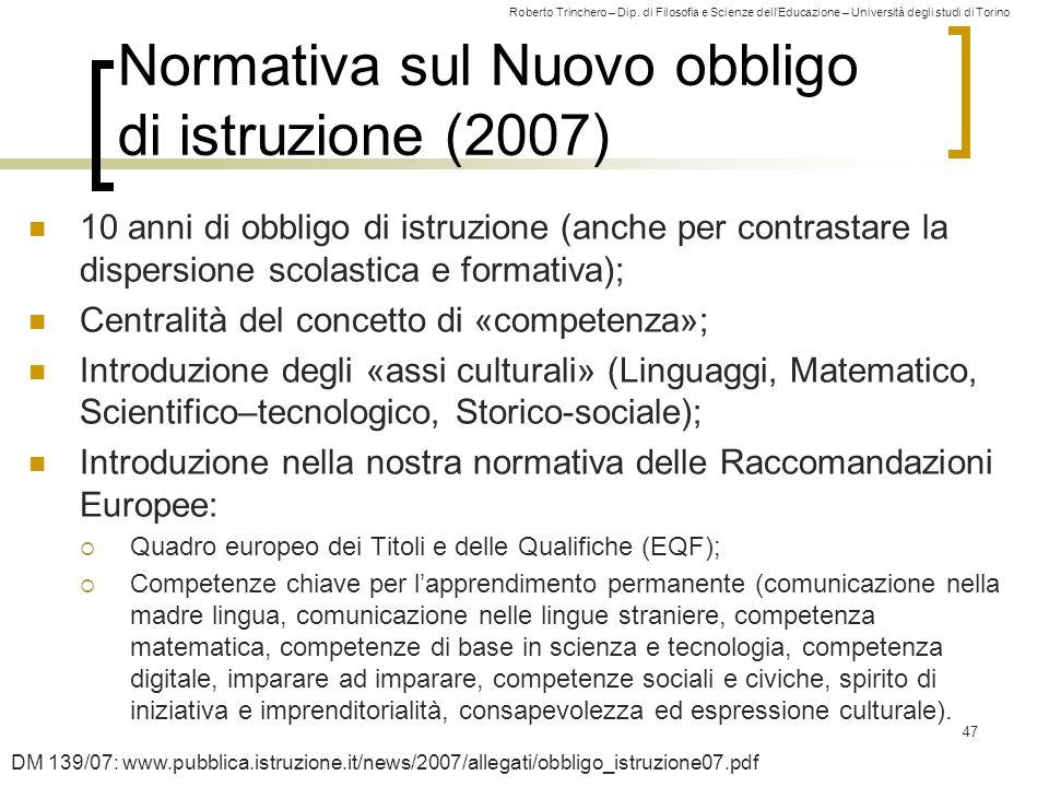 Roberto Trinchero – Dip. di Filosofia e Scienze dell'Educazione – Università degli studi di Torino Normativa sul Nuovo obbligo di istruzione (2007) 10