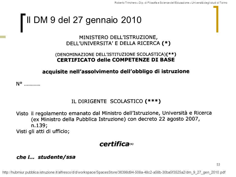 Roberto Trinchero – Dip. di Filosofia e Scienze dell'Educazione – Università degli studi di Torino 53 Il DM 9 del 27 gennaio 2010 http://hubmiur.pubbl