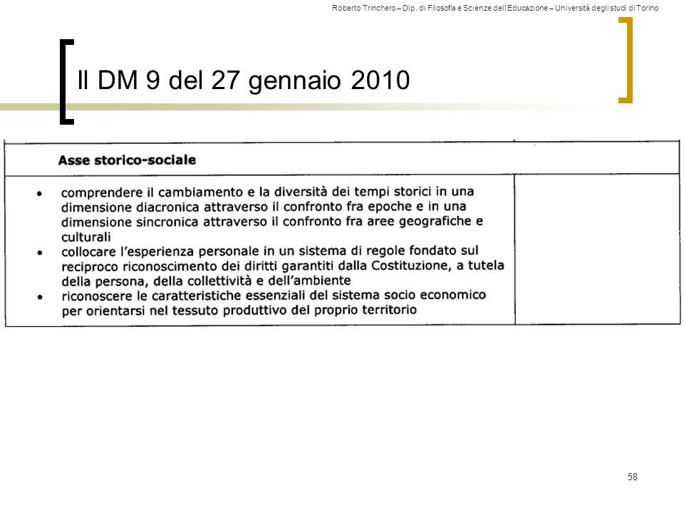 Roberto Trinchero – Dip. di Filosofia e Scienze dell'Educazione – Università degli studi di Torino 58 Il DM 9 del 27 gennaio 2010