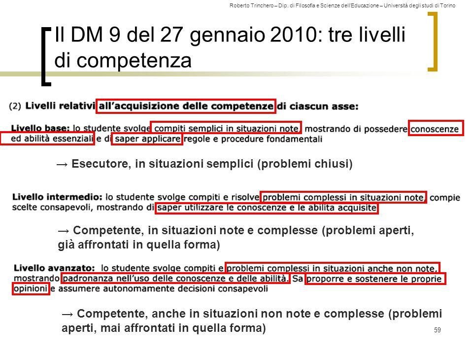 Roberto Trinchero – Dip. di Filosofia e Scienze dell'Educazione – Università degli studi di Torino 59 Il DM 9 del 27 gennaio 2010: tre livelli di comp