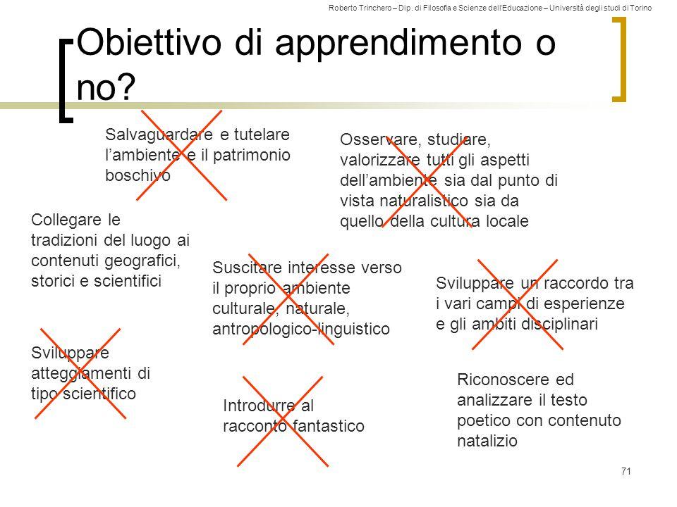 Roberto Trinchero – Dip. di Filosofia e Scienze dell'Educazione – Università degli studi di Torino 71 Obiettivo di apprendimento o no? Salvaguardare e