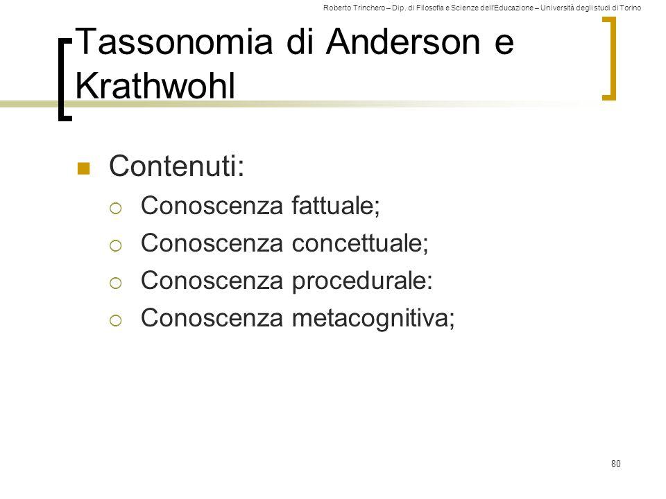 Roberto Trinchero – Dip. di Filosofia e Scienze dell'Educazione – Università degli studi di Torino 80 Tassonomia di Anderson e Krathwohl Contenuti: 