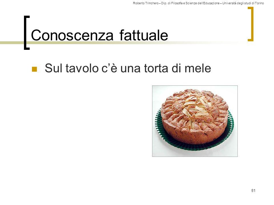 Roberto Trinchero – Dip. di Filosofia e Scienze dell'Educazione – Università degli studi di Torino 81 Conoscenza fattuale Sul tavolo c'è una torta di