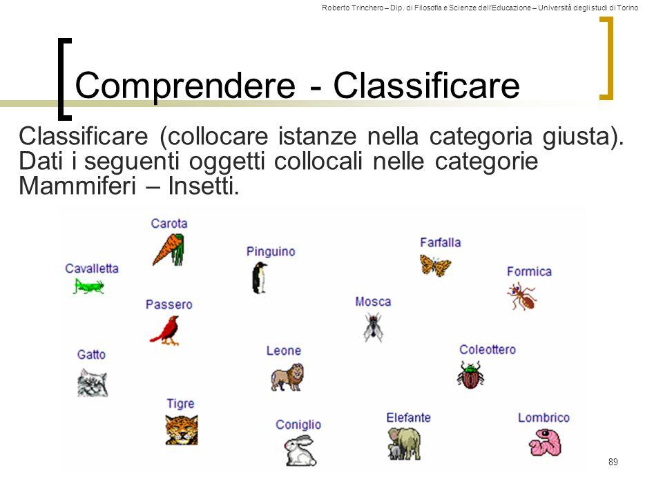 Roberto Trinchero – Dip. di Filosofia e Scienze dell'Educazione – Università degli studi di Torino 89 Comprendere - Classificare Classificare (colloca