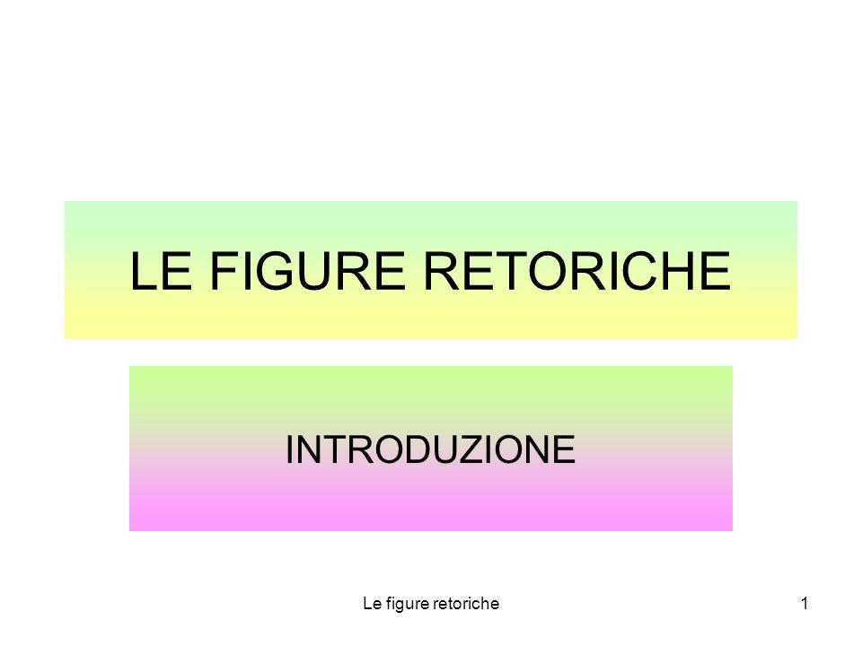 Le figure retoriche1 LE FIGURE RETORICHE INTRODUZIONE