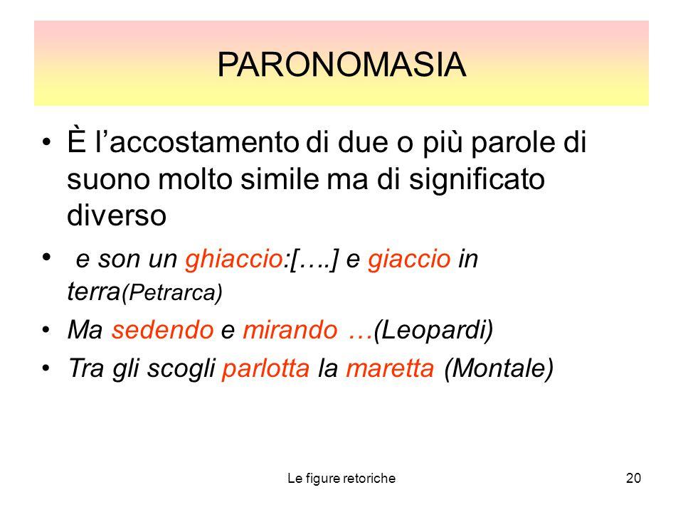 Le figure retoriche20 PARONOMASIA È l'accostamento di due o più parole di suono molto simile ma di significato diverso e son un ghiaccio:[….] e giacci