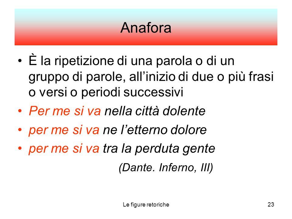Le figure retoriche23 Anafora È la ripetizione di una parola o di un gruppo di parole, all'inizio di due o più frasi o versi o periodi successivi Per