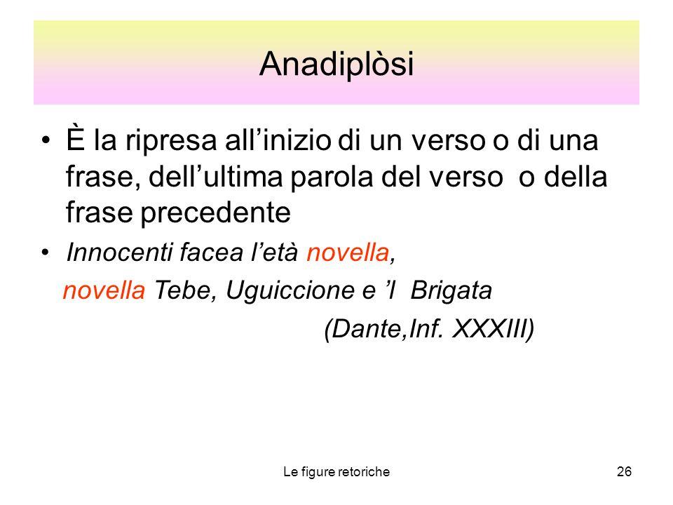 Le figure retoriche26 Anadiplòsi È la ripresa all'inizio di un verso o di una frase, dell'ultima parola del verso o della frase precedente Innocenti f
