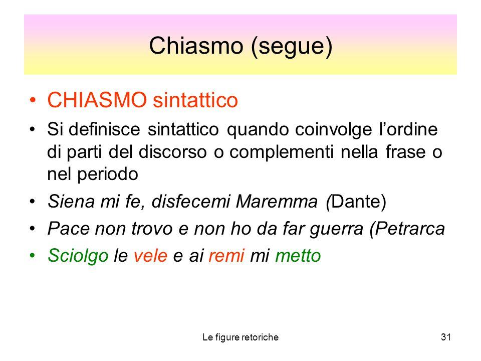 Le figure retoriche31 Chiasmo (segue) CHIASMO sintattico Si definisce sintattico quando coinvolge l'ordine di parti del discorso o complementi nella f