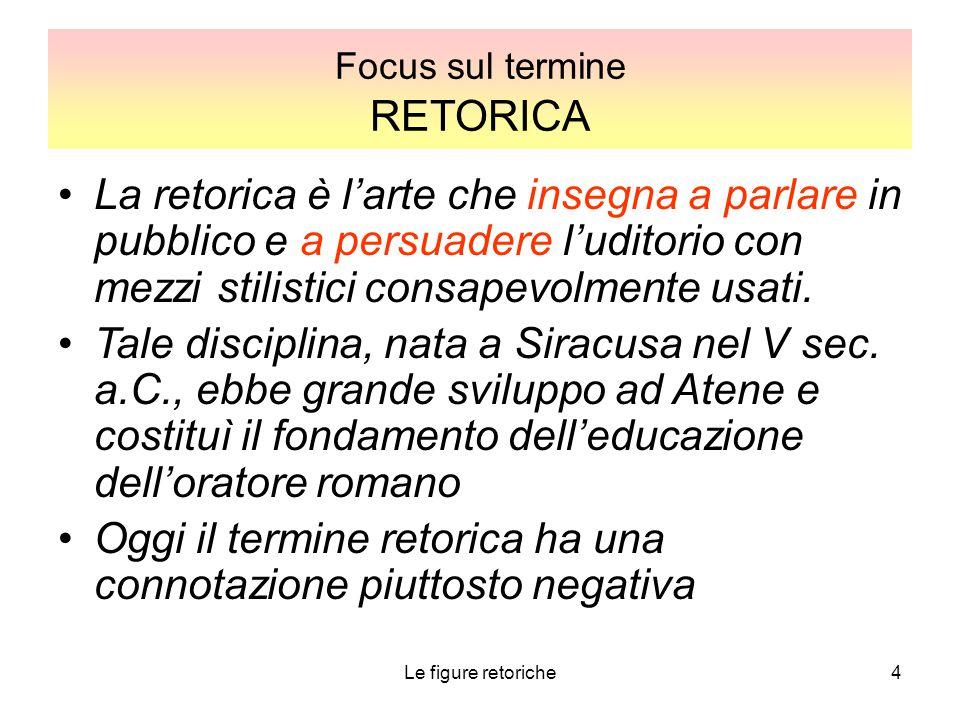4 Focus sul termine RETORICA La retorica è l'arte che insegna a parlare in pubblico e a persuadere l'uditorio con mezzi stilistici consapevolmente usa