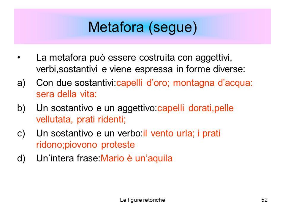 Le figure retoriche52 Metafora (segue) La metafora può essere costruita con aggettivi, verbi,sostantivi e viene espressa in forme diverse: a)Con due s