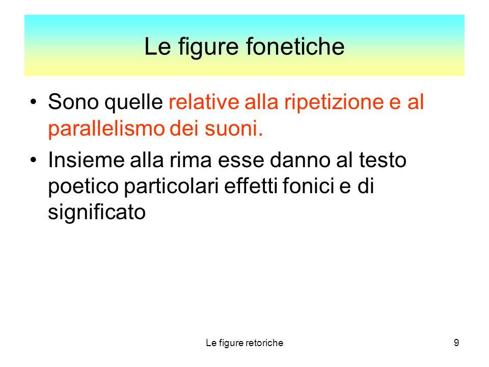 9 Le figure fonetiche Sono quelle relative alla ripetizione e al parallelismo dei suoni. Insieme alla rima esse danno al testo poetico particolari eff