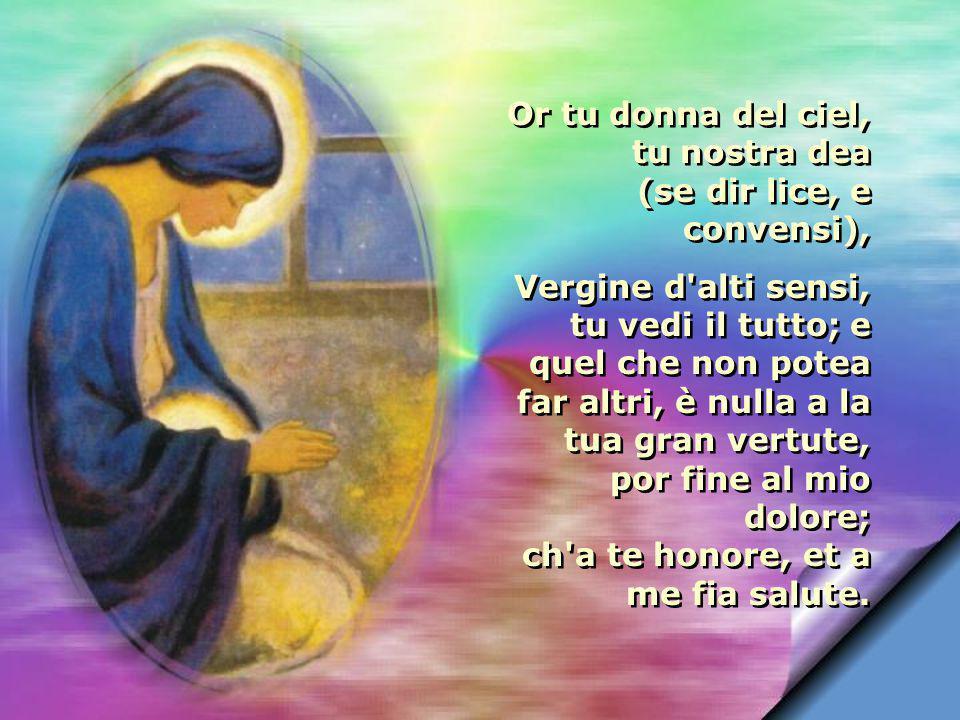 Vergine, tale è terra, e posto à in doglia lo mio cor, che vivendo in pianto il tenne e de mille miei mali un non sapea: e per saperlo, pur quel che n avenne fôra avenuto, ch ogni altra sua voglia era a me morte, et a lei fama rea.