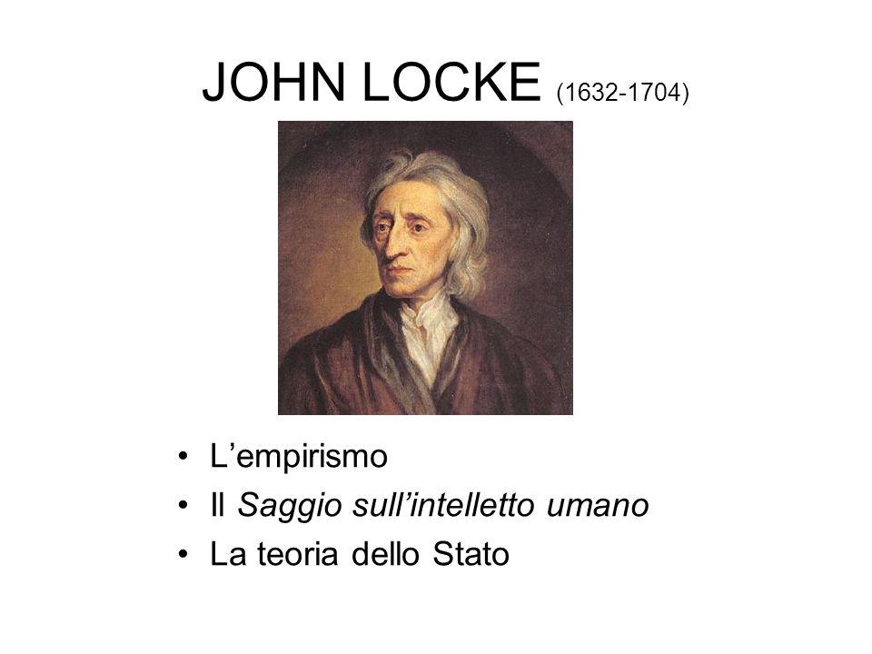 JOHN LOCKE (1632-1704) L'empirismo Il Saggio sull'intelletto umano La teoria dello Stato