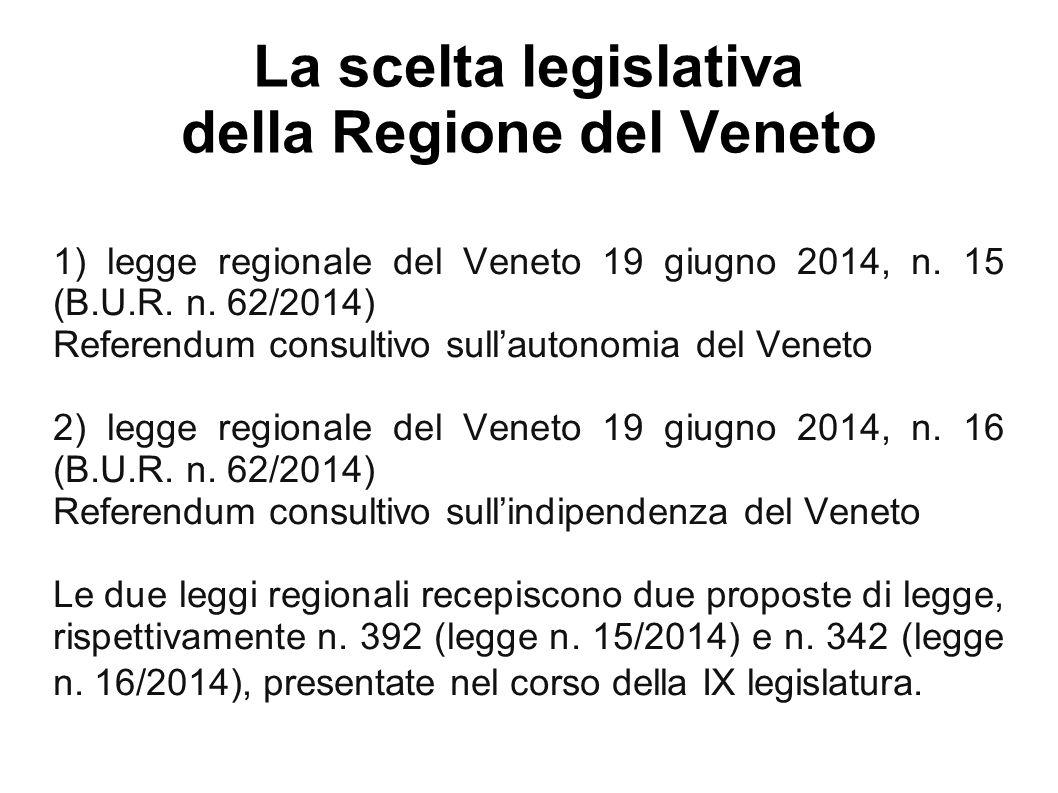 La scelta legislativa della Regione del Veneto 1) legge regionale del Veneto 19 giugno 2014, n.