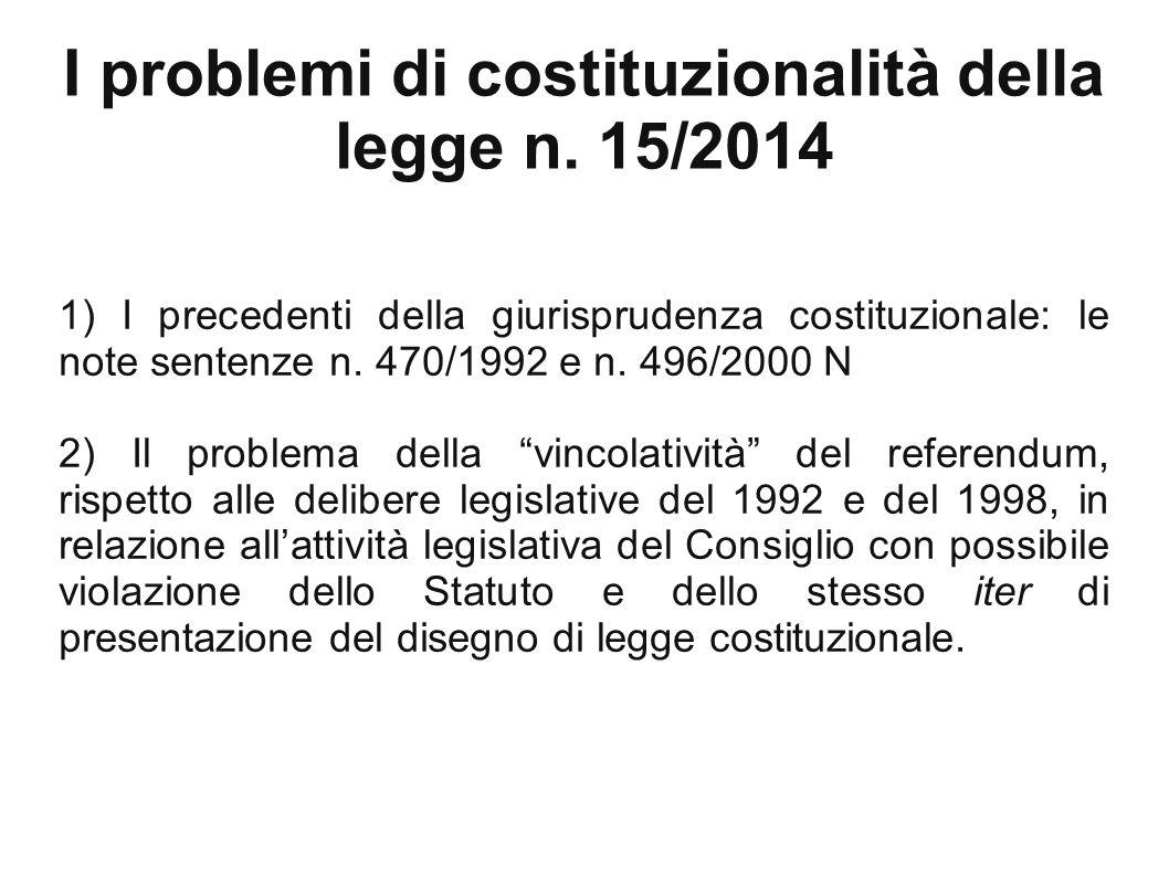 I problemi di costituzionalità della legge n.