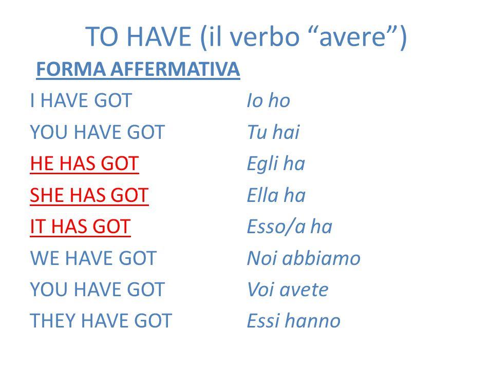 """TO HAVE (il verbo """"avere"""") FORMA AFFERMATIVA I HAVE GOT YOU HAVE GOT HE HAS GOT SHE HAS GOT IT HAS GOT WE HAVE GOT YOU HAVE GOT THEY HAVE GOT Io ho Tu"""