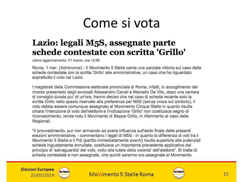 MoVimento 5 Stelle Roma 15 Elezioni Europee 25/05/2014 Come si vota