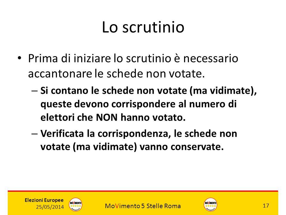 MoVimento 5 Stelle Roma 17 Elezioni Europee 25/05/2014 Lo scrutinio Prima di iniziare lo scrutinio è necessario accantonare le schede non votate. – Si