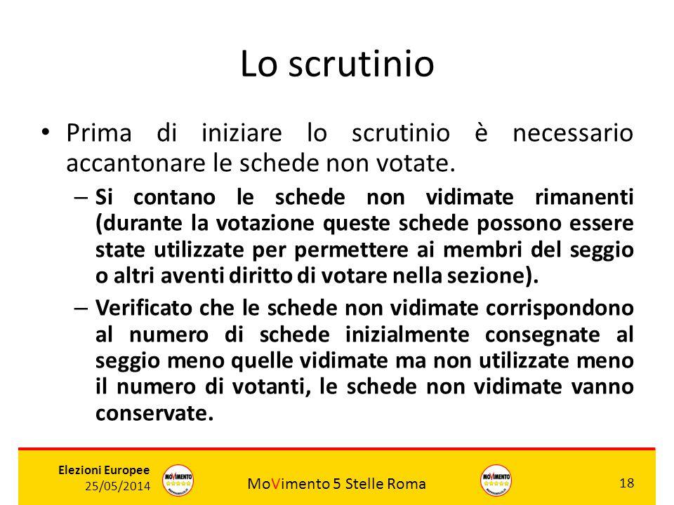 MoVimento 5 Stelle Roma 18 Elezioni Europee 25/05/2014 Lo scrutinio Prima di iniziare lo scrutinio è necessario accantonare le schede non votate. – Si
