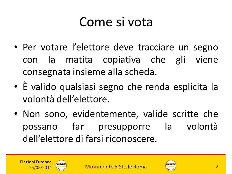 MoVimento 5 Stelle Roma 2 Elezioni Europee 25/05/2014 Come si vota Per votare l'elettore deve tracciare un segno con la matita copiativa che gli viene