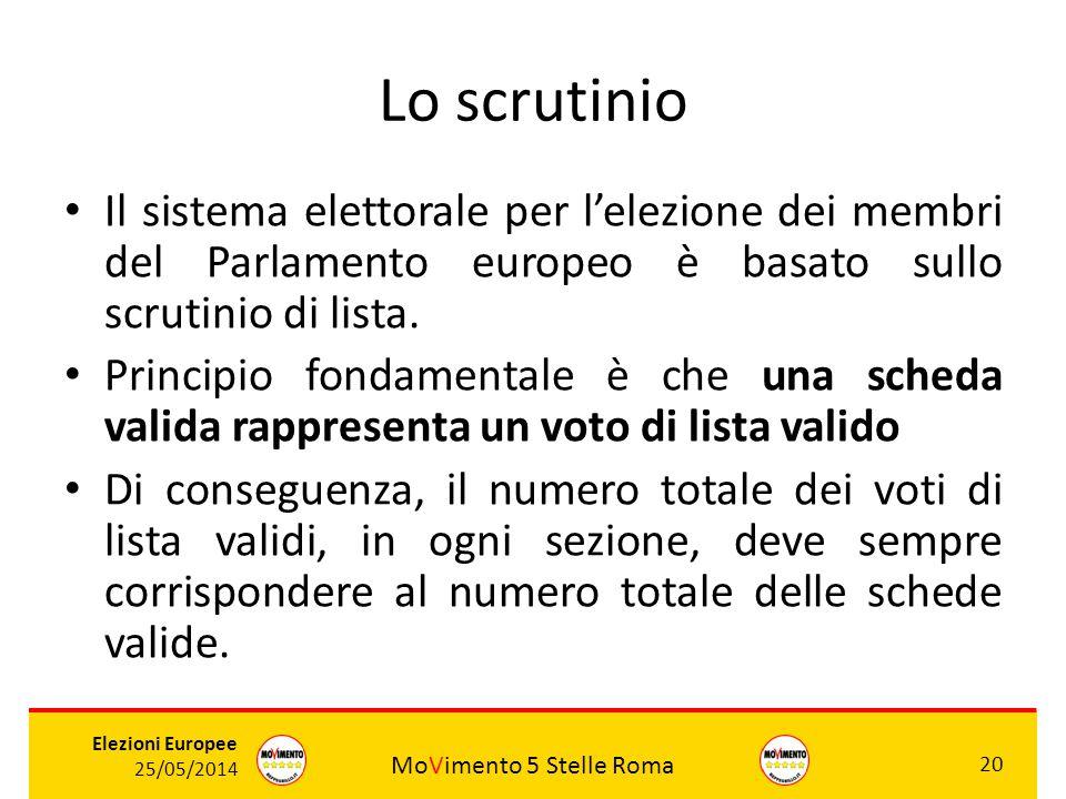 MoVimento 5 Stelle Roma 20 Elezioni Europee 25/05/2014 Lo scrutinio Il sistema elettorale per l'elezione dei membri del Parlamento europeo è basato su
