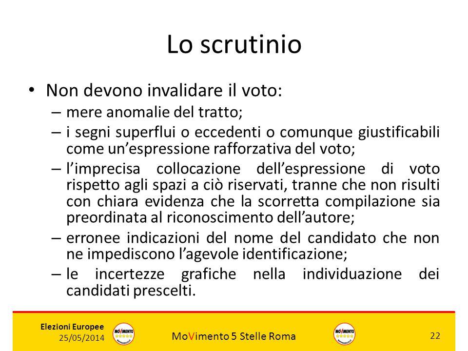 MoVimento 5 Stelle Roma 22 Elezioni Europee 25/05/2014 Lo scrutinio Non devono invalidare il voto: – mere anomalie del tratto; – i segni superflui o e