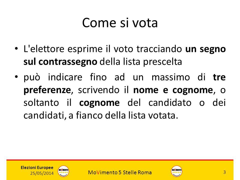 MoVimento 5 Stelle Roma 3 Elezioni Europee 25/05/2014 Come si vota L'elettore esprime il voto tracciando un segno sul contrassegno della lista prescel