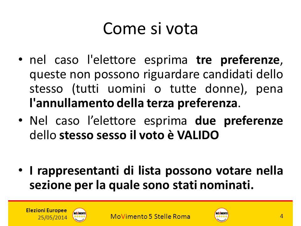 MoVimento 5 Stelle Roma 4 Elezioni Europee 25/05/2014 Come si vota nel caso l'elettore esprima tre preferenze, queste non possono riguardare candidati