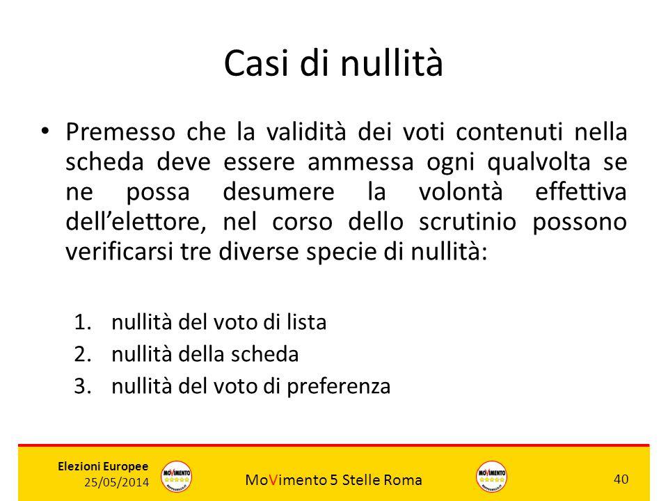 MoVimento 5 Stelle Roma 40 Elezioni Europee 25/05/2014 Casi di nullità Premesso che la validità dei voti contenuti nella scheda deve essere ammessa og