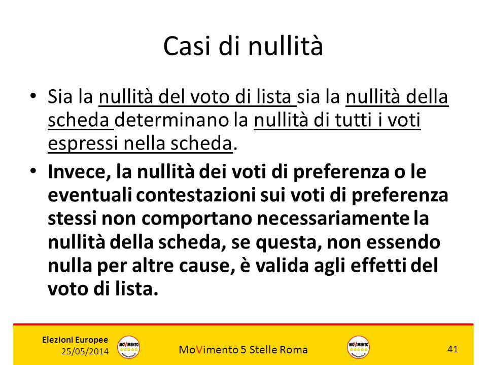 MoVimento 5 Stelle Roma 41 Elezioni Europee 25/05/2014 Casi di nullità Sia la nullità del voto di lista sia la nullità della scheda determinano la nul