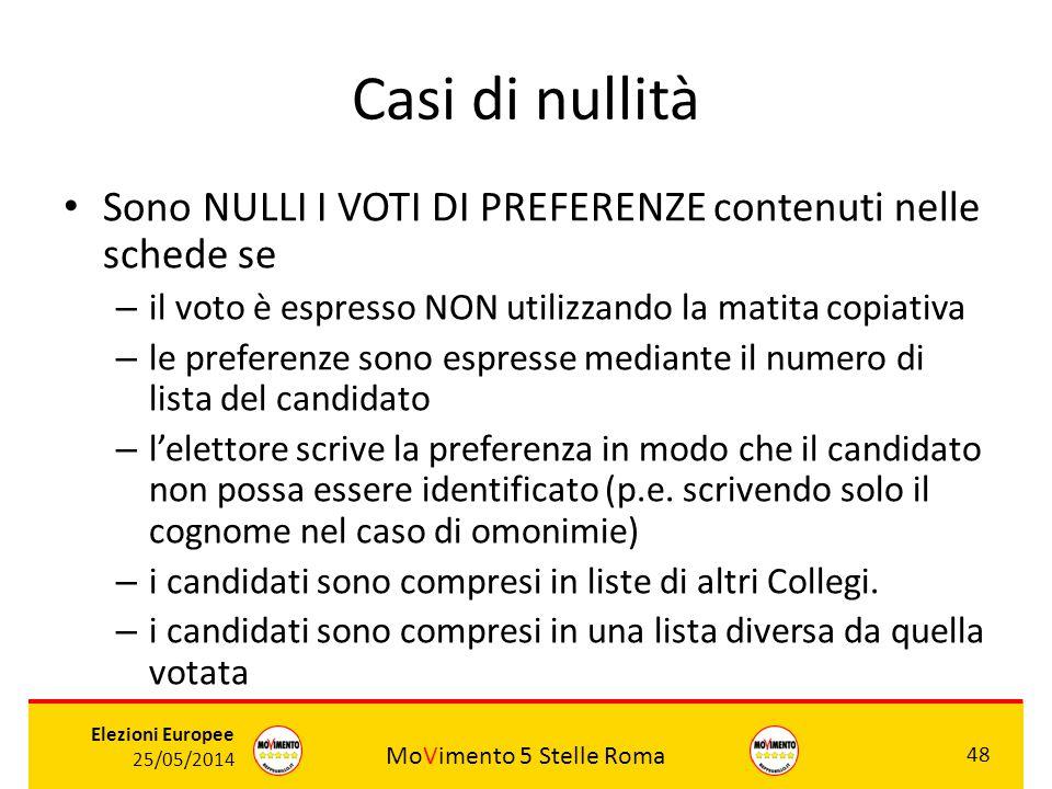 MoVimento 5 Stelle Roma 48 Elezioni Europee 25/05/2014 Casi di nullità Sono NULLI I VOTI DI PREFERENZE contenuti nelle schede se – il voto è espresso