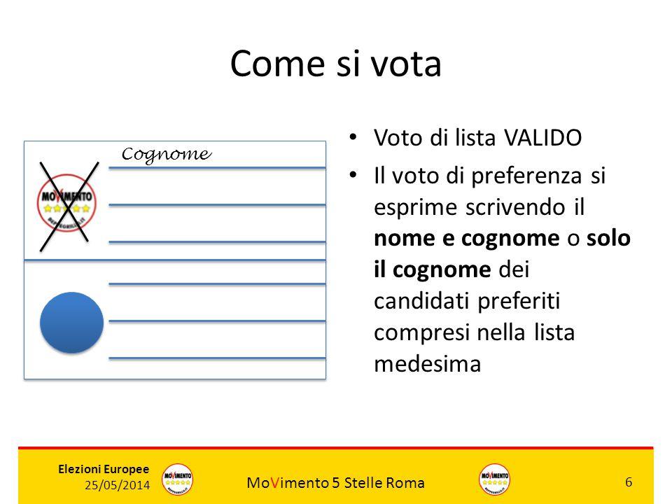 MoVimento 5 Stelle Roma 6 Elezioni Europee 25/05/2014 Come si vota Voto di lista VALIDO Il voto di preferenza si esprime scrivendo il nome e cognome o
