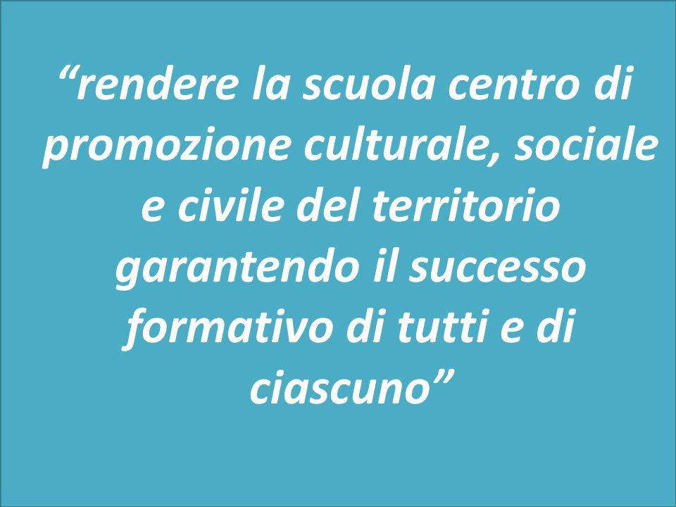 """""""rendere la scuola centro di promozione culturale, sociale e civile del territorio garantendo il successo formativo di tutti e di ciascuno"""""""