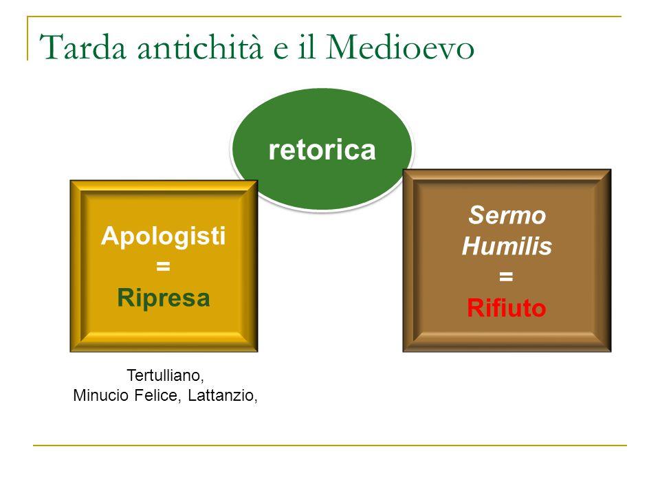 Tarda antichità e il Medioevo retorica Apologisti = Ripresa Sermo Humilis = Rifiuto Tertulliano, Minucio Felice, Lattanzio,
