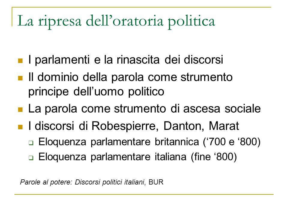 La ripresa dell'oratoria politica I parlamenti e la rinascita dei discorsi Il dominio della parola come strumento principe dell'uomo politico La parol