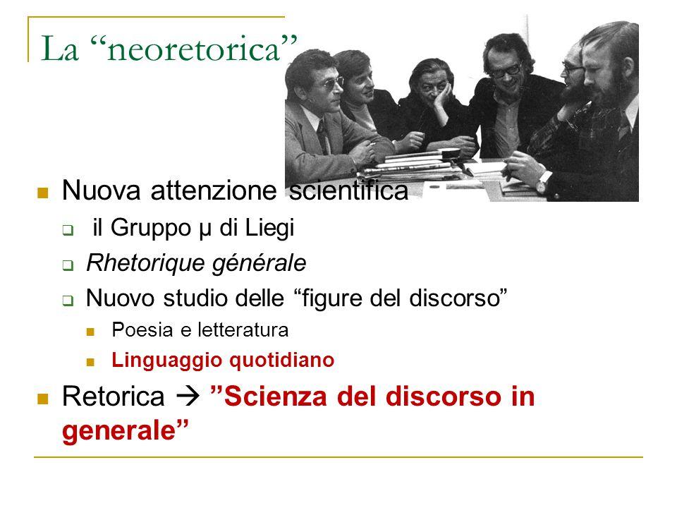 """La """"neoretorica"""" Nuova attenzione scientifica  il Gruppo μ di Liegi  Rhetorique générale  Nuovo studio delle """"figure del discorso"""" Poesia e lettera"""