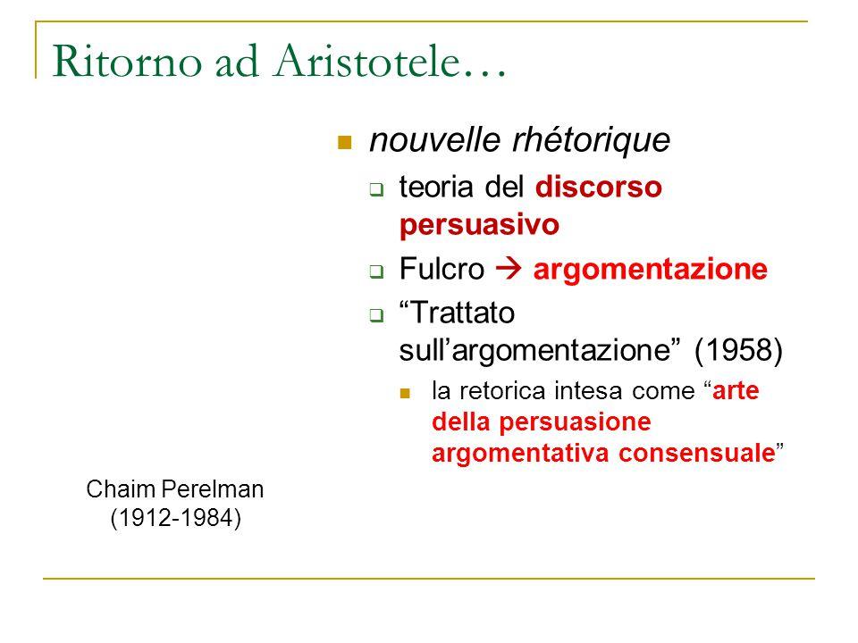 """Ritorno ad Aristotele… nouvelle rhétorique  teoria del discorso persuasivo  Fulcro  argomentazione  """"Trattato sull'argomentazione"""" (1958) la retor"""