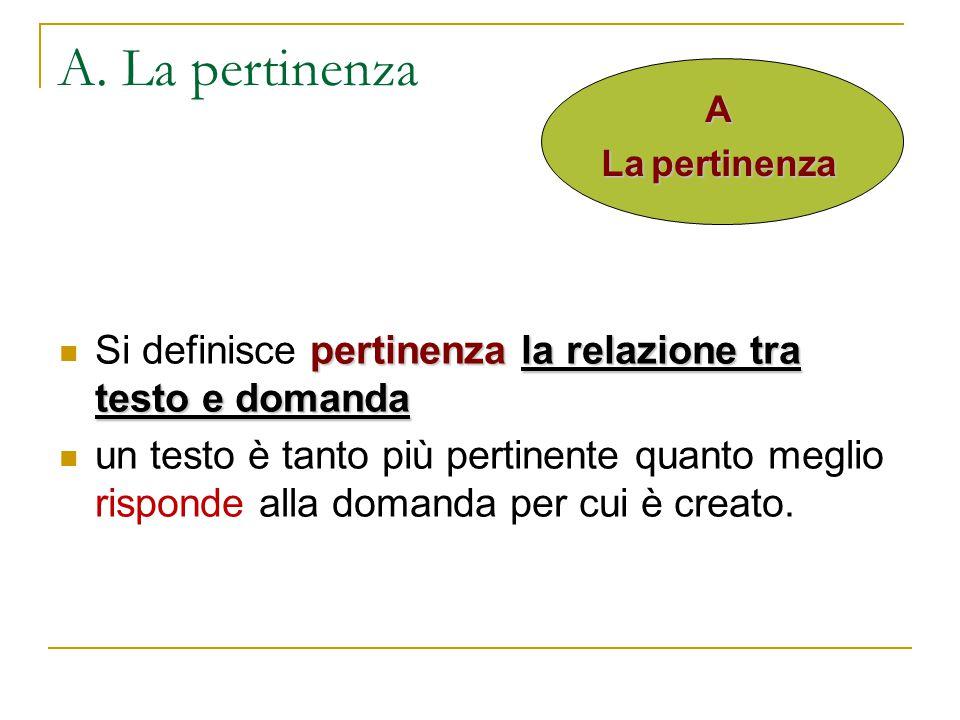 A. La pertinenza pertinenzala relazione tra testo e domanda Si definisce pertinenza la relazione tra testo e domanda un testo è tanto più pertinente q