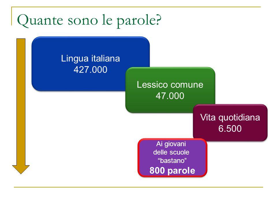 Quante sono le parole? Lingua italiana 427.000 Lingua italiana 427.000 Lessico comune 47.000 Lessico comune 47.000 Vita quotidiana 6.500 Vita quotidia